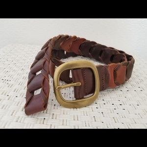 Lucky Brand Woven Leather Brass Buckle Belt M/32